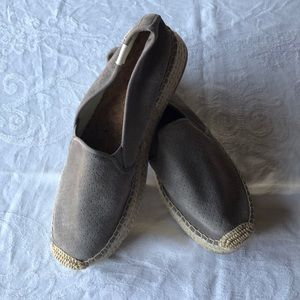 Soludos Platform Espadrilles gray leather slip on